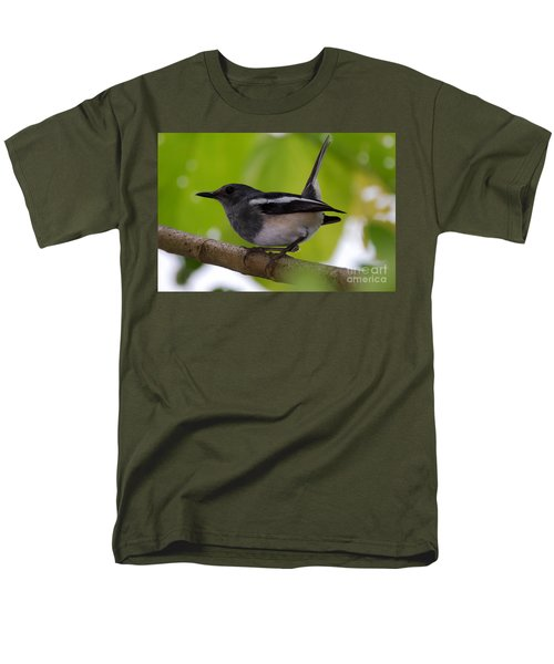 Men's T-Shirt  (Regular Fit) featuring the photograph Study Of A Magpie-robin by Fotosas Photography