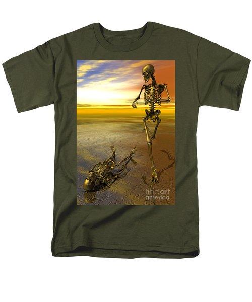 Surreal Skeleton Jogging Past Prone Skeleton With Sunset Men's T-Shirt  (Regular Fit)