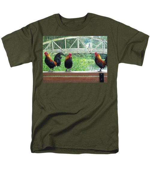 Three Roosters  Men's T-Shirt  (Regular Fit) by Peter Mooyman