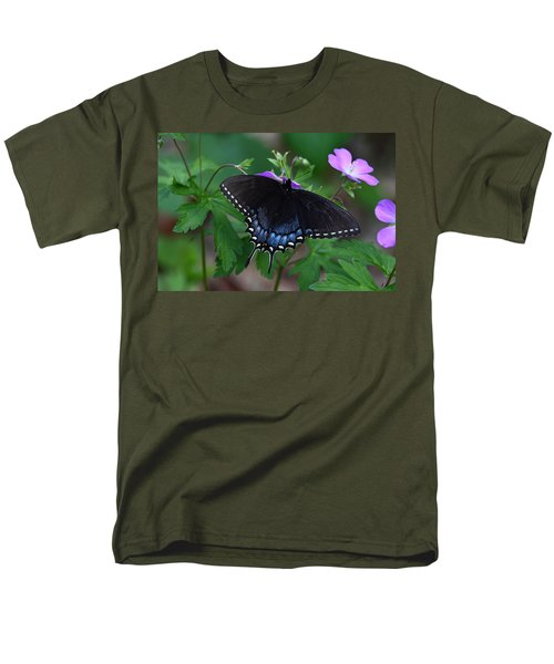 Men's T-Shirt  (Regular Fit) featuring the photograph Tiger Swallowtail Female Dark Form On Wild Geranium by Daniel Reed