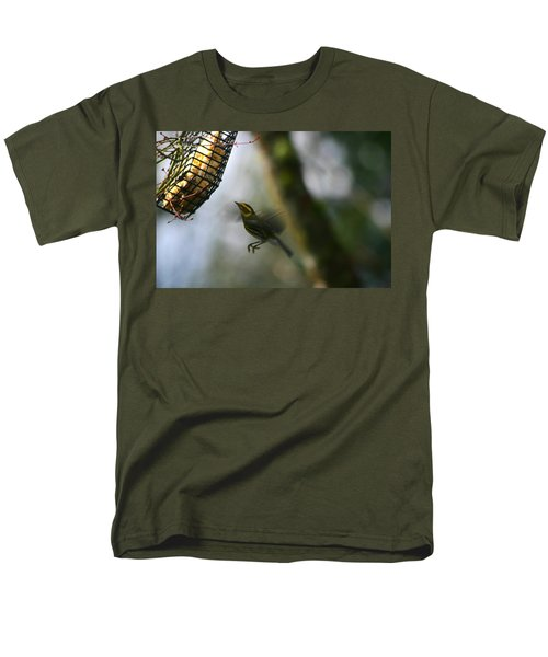 Men's T-Shirt  (Regular Fit) featuring the photograph Townsend Warbler In Flight by Kym Backland