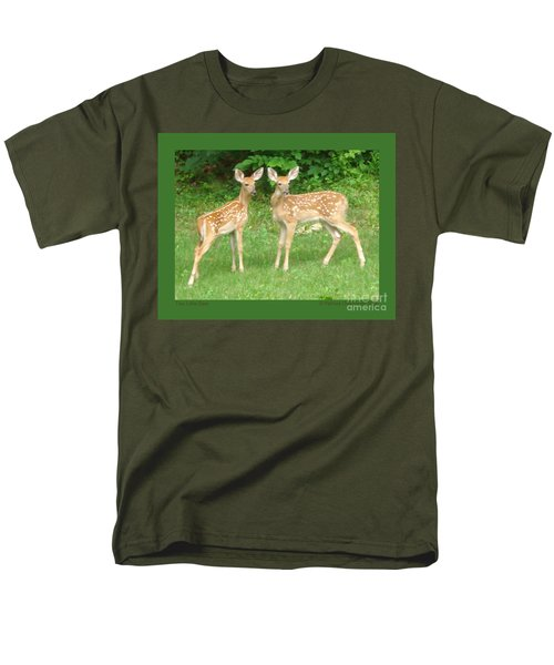 Two Little Deer Men's T-Shirt  (Regular Fit) by Patricia Overmoyer