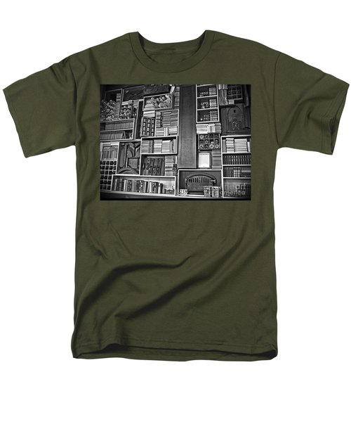 Men's T-Shirt  (Regular Fit) featuring the photograph Vintage Bookcase Art Prints by Valerie Garner