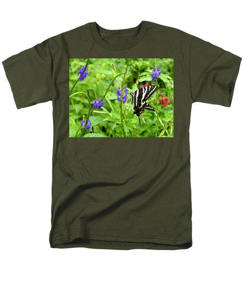Zebra Swallowtail On Blue Porterweed Men's T-Shirt  (Regular Fit) by Judy Wanamaker