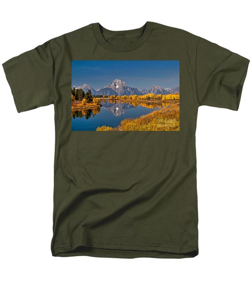 Fall Colors At Oxbow Bend In Grand Teton National Park Men's T-Shirt  (Regular Fit) by Sam Antonio Photography