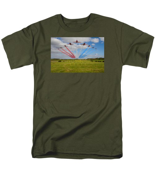Red Arrows Running In At Brize Men's T-Shirt  (Regular Fit) by Ken Brannen