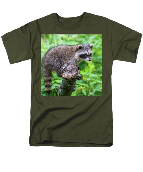 Men's T-Shirt  (Regular Fit) featuring the photograph Baby Racoon by Paul Freidlund