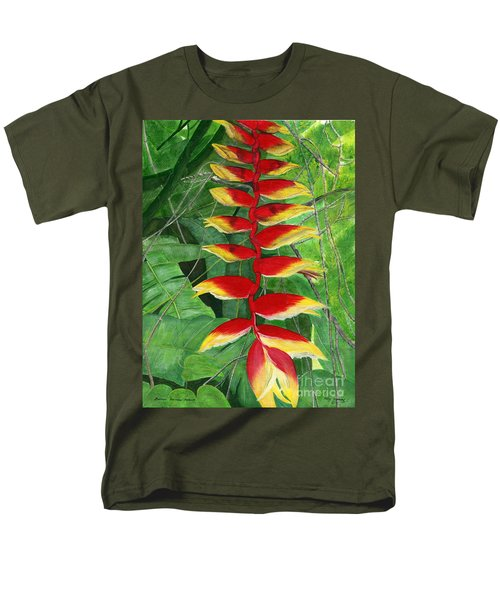 Men's T-Shirt  (Regular Fit) featuring the painting Balinese Heliconia Rostrata by Melly Terpening