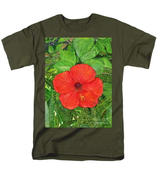 Men's T-Shirt  (Regular Fit) featuring the painting Balinese Hibiscus Rosa by Melly Terpening