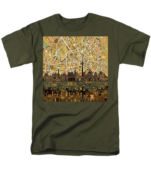 Berlin City Skyline Abstract Men's T-Shirt  (Regular Fit) by Bekim Art