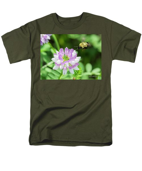 Bumble Bee Pollinating A Flower Men's T-Shirt  (Regular Fit)