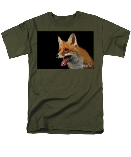 Closeup Portrait Of Smiled Red Fox Isolated On Black  Men's T-Shirt  (Regular Fit) by Sergey Taran