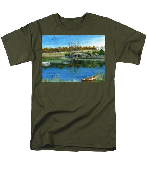 Men's T-Shirt  (Regular Fit) featuring the painting Cole Hill Pond by Melly Terpening