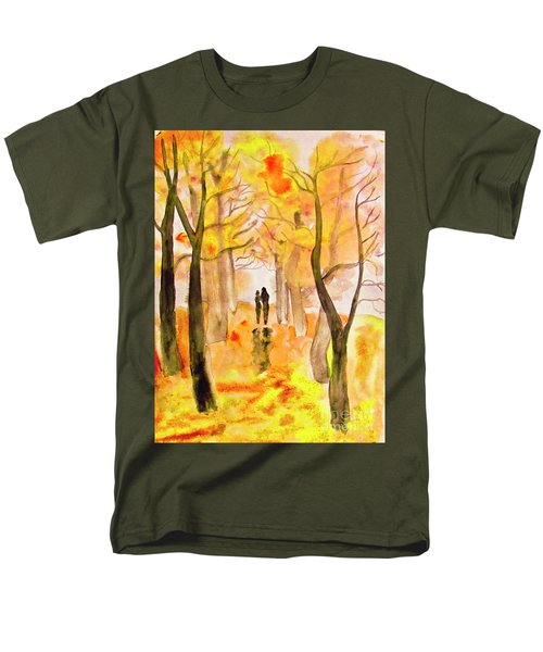 Couple On Autumn Alley, Painting Men's T-Shirt  (Regular Fit) by Irina Afonskaya
