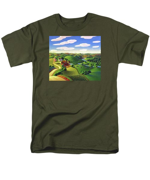 Men's T-Shirt  (Regular Fit) featuring the painting Dairy Farm  by Robin Moline