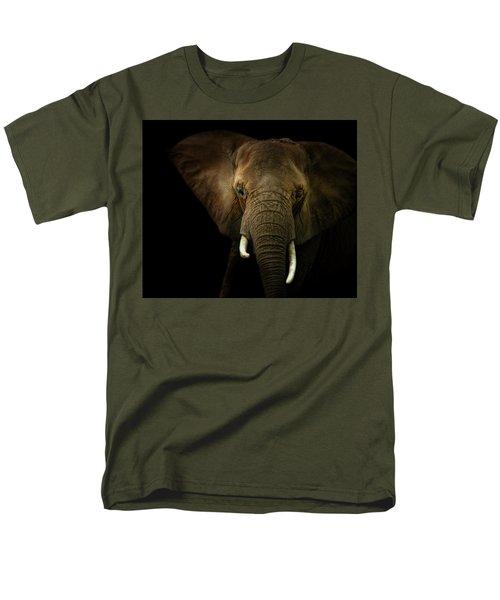 Elephant Against Black Background Men's T-Shirt  (Regular Fit)
