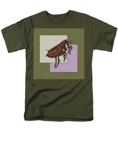 Flea On Abstract Beige Lavender And Dark Khaki Men's T-Shirt  (Regular Fit) by Serge Averbukh