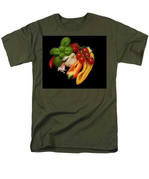 Men's T-Shirt  (Regular Fit) featuring the photograph Peppers Basil Tomatoes Garlic by David French