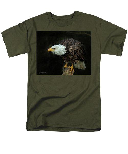 Perched Bald Eagle Men's T-Shirt  (Regular Fit) by CR Courson