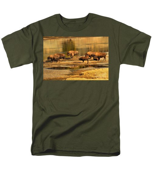 Men's T-Shirt  (Regular Fit) featuring the photograph Gathering To Cross The Yellowstone River by Adam Jewell