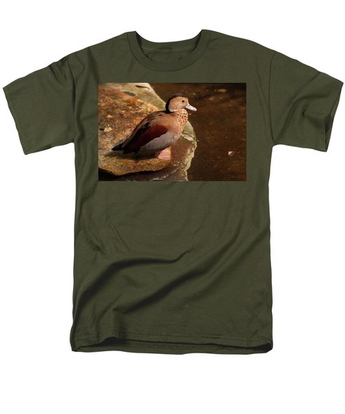 Men's T-Shirt  (Regular Fit) featuring the photograph Ringed Teal On A Rock by Chris Flees