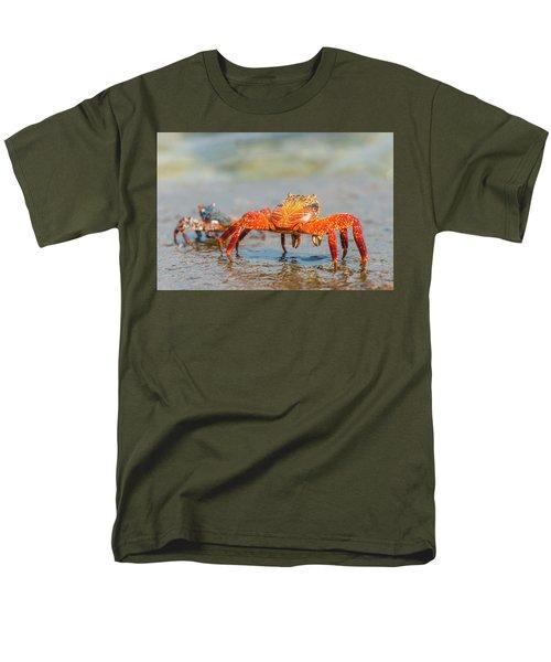 Sally Lightfoot Crab On Galapagos Islands Men's T-Shirt  (Regular Fit) by Marek Poplawski