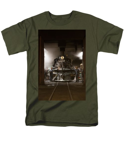 Men's T-Shirt  (Regular Fit) featuring the photograph Steam Locomotive In The Roundhouse Of The Durango And Silverton Narrow Gauge Railroad In Durango by Carol M Highsmith