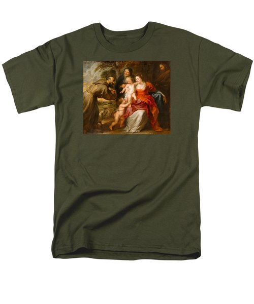 Men's T-Shirt  (Regular Fit) featuring the painting The Holy Family With Saints Francis And Anne And The Infant Saint John The Baptist by Peter Paul Rubens