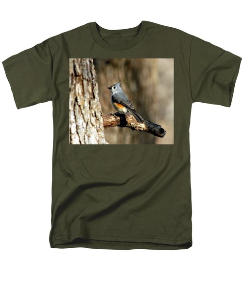 Tufted Titmouse On Branch Men's T-Shirt  (Regular Fit) by Sheila Brown