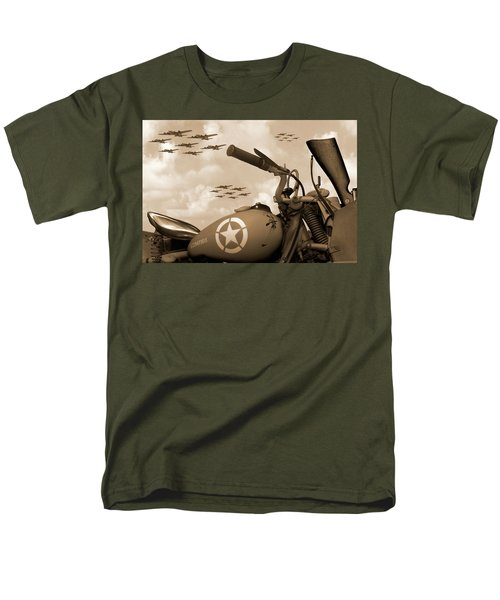Men's T-Shirt  (Regular Fit) featuring the photograph 1942 Indian 841 - B-17 Flying Fortress - H by Mike McGlothlen