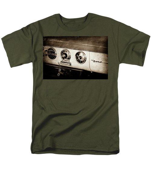 Men's T-Shirt  (Regular Fit) featuring the photograph 1955 Ford Fairlane Dashboard Emblem -0444s by Jill Reger