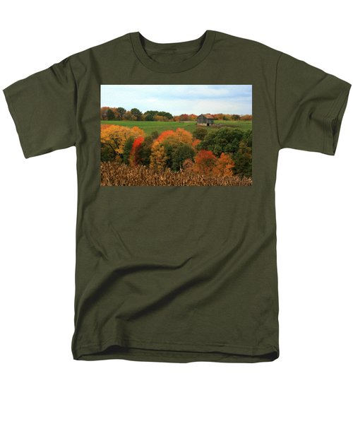Men's T-Shirt  (Regular Fit) featuring the photograph Barn On Autumn Hillside by Angela Rath