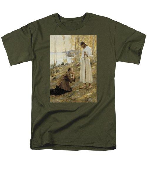 Christ And Mary Magdalene Men's T-Shirt  (Regular Fit) by Albert Edelfelt