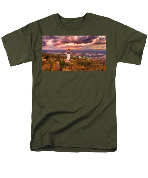 Heublein Tower, Simsbury Connecticut, Cloudy Sunset Men's T-Shirt  (Regular Fit) by Petr Hejl