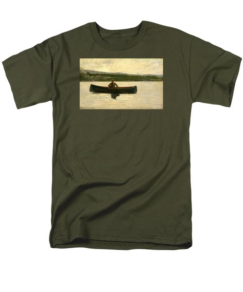 Men's T-Shirt  (Regular Fit) featuring the painting Playing A Fish by Winslow Homer