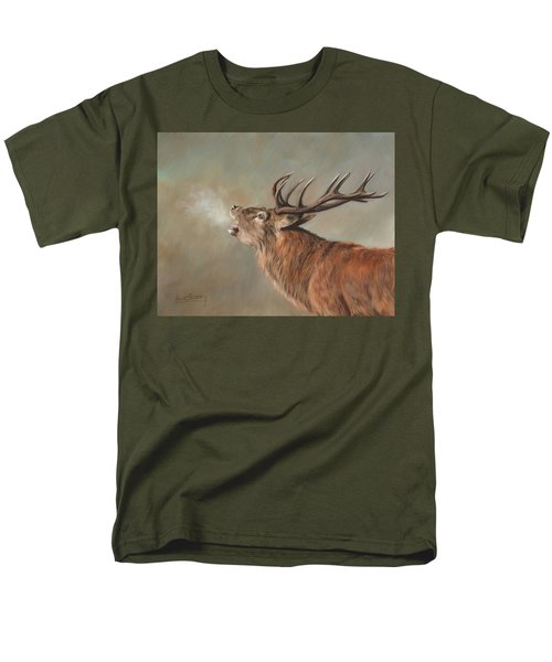Men's T-Shirt  (Regular Fit) featuring the painting Red Deer Stag by David Stribbling