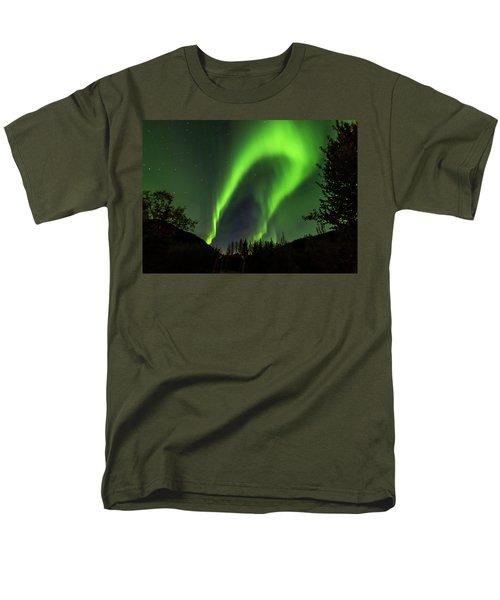 Northern Lights, Aurora Borealis At Kantishna Lodge In Denali National Park Men's T-Shirt  (Regular Fit) by Brenda Jacobs