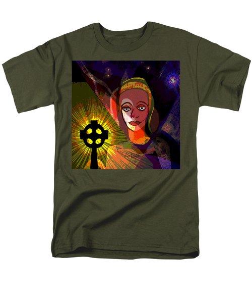 Men's T-Shirt  (Regular Fit) featuring the digital art 863 - A Celtic Cross by Irmgard Schoendorf Welch