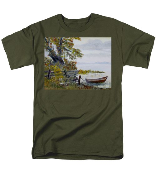 Men's T-Shirt  (Regular Fit) featuring the painting A Boat Waiting by Marilyn  McNish