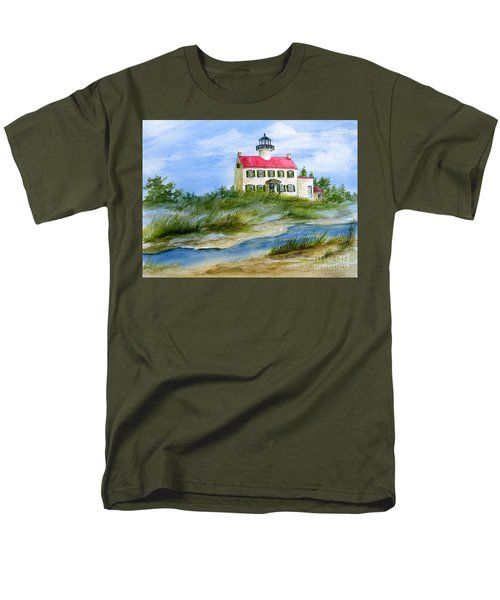 Men's T-Shirt  (Regular Fit) featuring the painting A Clear Day At East Point Lighthouse by Nancy Patterson