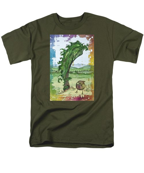 A Kale Leaf And A Little Bird Men's T-Shirt  (Regular Fit) by Carolyn Doe