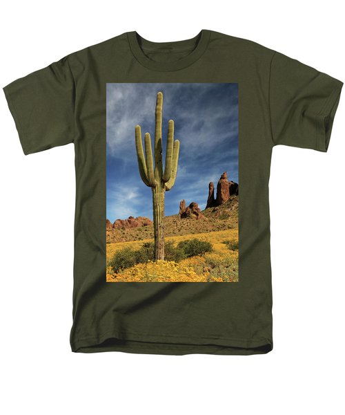 Men's T-Shirt  (Regular Fit) featuring the photograph A Saguaro In Spring by James Eddy