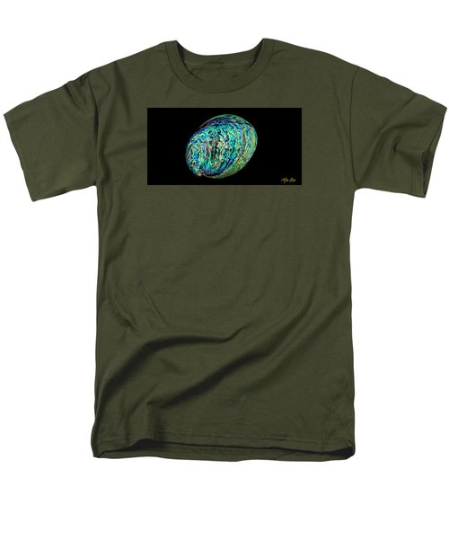 Men's T-Shirt  (Regular Fit) featuring the photograph Abalone On Black by Rikk Flohr