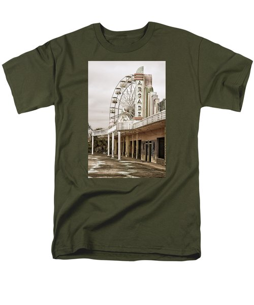 Men's T-Shirt  (Regular Fit) featuring the photograph Abandoned Arcade And Ferris Wheel by Andy Crawford
