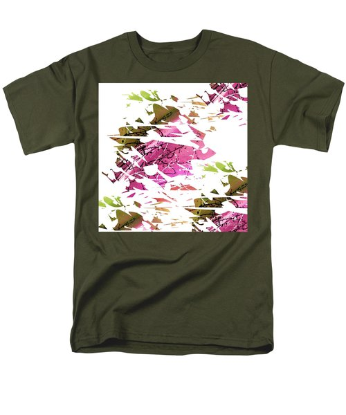 Abstract Acrylic Painting Broken Glass Purple And Green Men's T-Shirt  (Regular Fit) by Saribelle Rodriguez