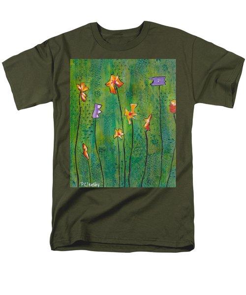 Abstract Flowers Orange, Purple Men's T-Shirt  (Regular Fit)