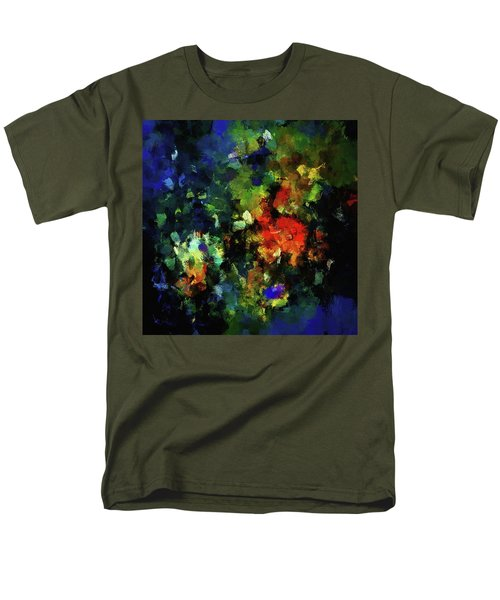 Men's T-Shirt  (Regular Fit) featuring the painting Abstract Painting In Dark Blue Tones by Ayse Deniz