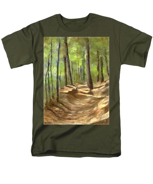 Men's T-Shirt  (Regular Fit) featuring the painting Adirondack Hiking Trails by Judy Filarecki