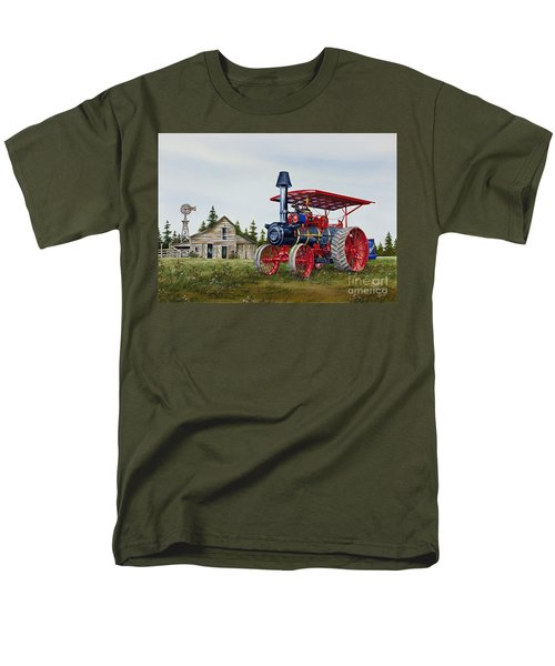 Men's T-Shirt  (Regular Fit) featuring the painting Advance Rumely Steam Traction Engine by James Williamson