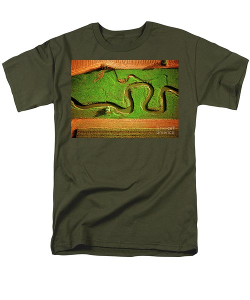 Aerial Farm Stream Men's T-Shirt  (Regular Fit) by Tom Jelen